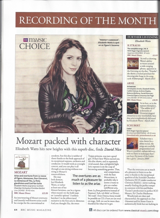 Mozart CD with Scottish Chamber Orchestra, Christian Baldini, Elizabeth Watts
